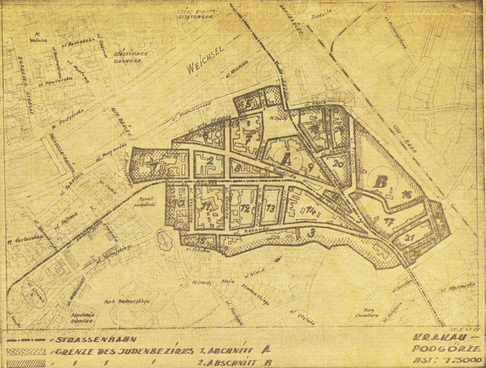 Mapa getta w Krakowie