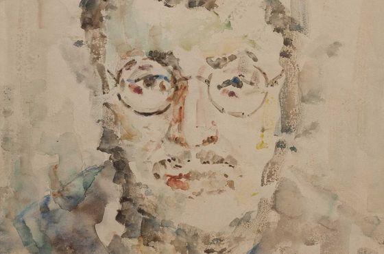 """Józef (Icchak) Kowner, """"Portret mężczyzny w okularach"""", getto łódzkie, zbiory ŻIH"""