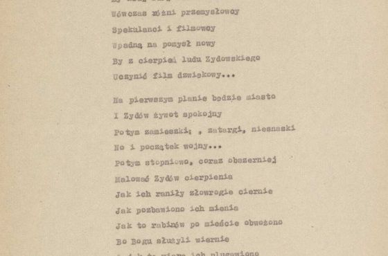 """Szymon Dratwa, """"Żydowski Grobowiec"""". Wiersz z getta łódzkiego, zbiory ŻIH"""